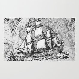 ship on a background map . black and white . keep moving forward Rug