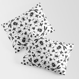 Insect Pattern on White Pillow Sham