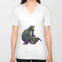 kaiju V-neck T-shirts featuring Kaiju Senior Kaiju Junior by firestarterdesign