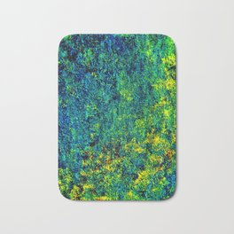 Abstract Flowers yellow and green Bath Mat