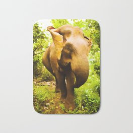 African Savanna Elephant | Watercolor Painting Bath Mat