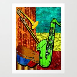 Earthy Music Instrument Collage with saxophone, drums, and trumpet Art Print