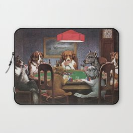 Dogs Playing Poker A Friend in Need Painting Laptop Sleeve
