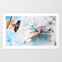 Space Fight Art Print