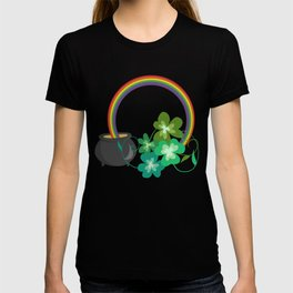 Irish Shamrocks and Gold at the end of the rainbow T-shirt