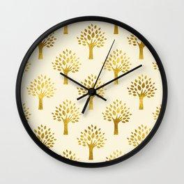 Cream Gold Foil 02 Wall Clock