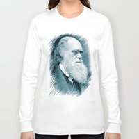darwin Long Sleeve T-shirts featuring Charles Darwin by Zandonai