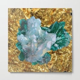 WHITE QUARTZ &  AQUAMARINE CRYSTALS  ON GOLD Metal Print