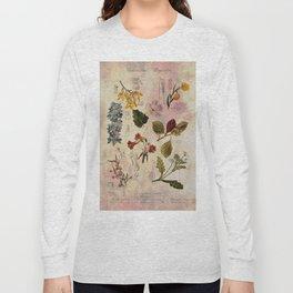 Botanical Study #1, Vintage Botanical Illustration Collage Long Sleeve T-shirt