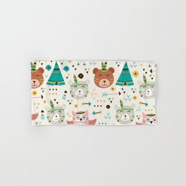 Boho Forest , Woodland Critters Hand & Bath Towel