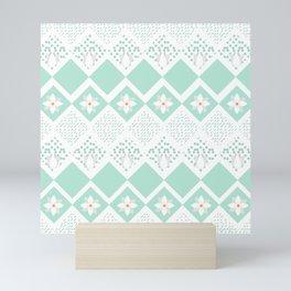 Abstract Ice Pastel Blue Ditsy Floral Diamond Pattern Mini Art Print
