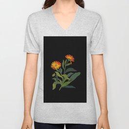 Calendula Officinalis Mary Delany Floral Flower Paper Collage Delicate Vintage Black Background Unisex V-Neck