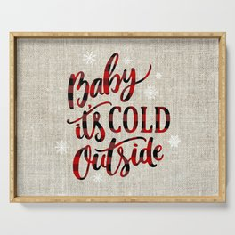 Baby It's Cold Red Buffalo Plaid Serving Tray