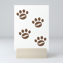 Coffee Paw - Coffee Bean Cat or Dog's Steps Mini Art Print