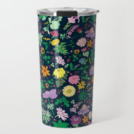 Flowers and Ferns Colorful Illustrated Print Travel Mug