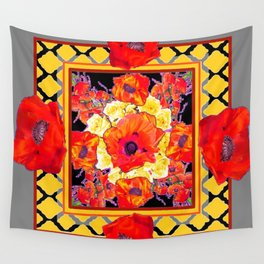 DECORATIVE GREY FLORAL  ABSTRACTED  ORANGE-RED POPPIES Wall Tapestry