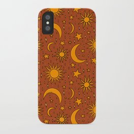 Vintage Sun and Star Print in Rust iPhone Case