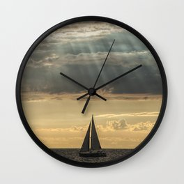 Sailboat Sailing in Lake Michigan beneath Sunbeams Wall Clock