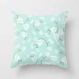 Eternal orchid delicate bloom - blue Throw Pillow