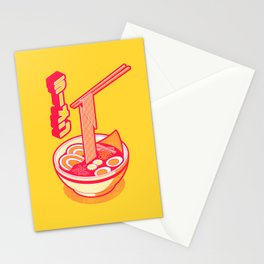 Japanese Ramen Isometric - Yellow Solid Stationery Cards