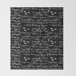 White French Script on Black background with White birds Throw Blanket