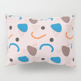 Blue and Orange Abstract on Light Pink Pillow Sham