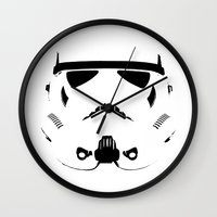 storm trooper Wall Clocks featuring Storm Trooper by WaXaVeJu