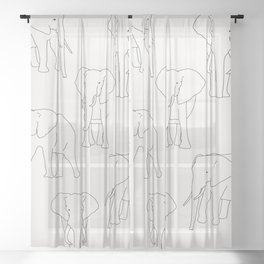 Elephant line drawing illustration Sheer Curtain