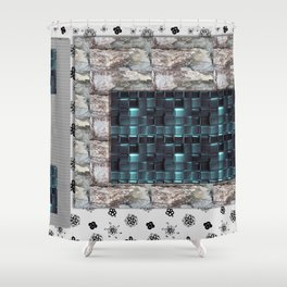 textures for the interior grey blue color Shower Curtain