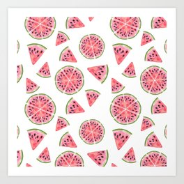 Modern pink green watercolor hand painted watermelon pattern Art Print
