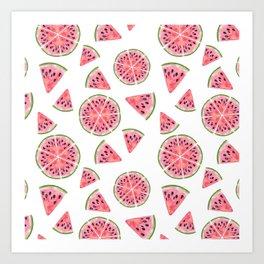 Modern pink green watercolor hand painted watermelon pattern Art Print