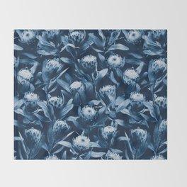 Evening Proteas - Denim Blue Throw Blanket