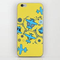 airplanes iPhone & iPod Skins featuring blue airplanes by Isabella Asratyan