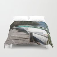 rowing Duvet Covers featuring Reeds, Rowing Boats and Old Jetty at Dalyan by taiche