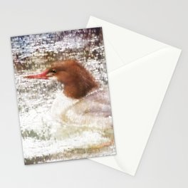 Merganser Fishing in the Rain Stationery Cards