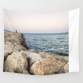 Sunset at the seawall Wall Tapestry