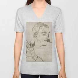 Portrait of Arthur Roessler (1914) by Egon Schiele Unisex V-Neck