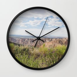 Wildflowers and Sandstone - Utah Landscape Photography Wall Clock