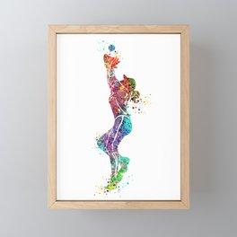 Girl Baseball Fielder Colorful Watercolor Framed Mini Art Print