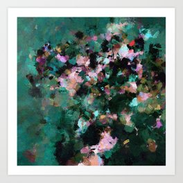 Contemporary Abstract Wall Art in Green / Teal Color Art Print