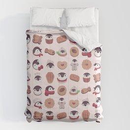 Cookie & cream & penguin - pink pattern Comforters