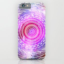 Modern Mandala Spiral Galaxy Space Textured Multi Colored / Pink Green Gray Black iPhone Case