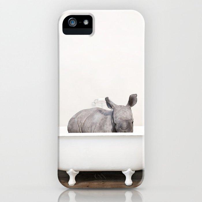 Baby Rhino in a Vintage Bathtub (c) iPhone Case