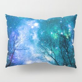 Black Trees Blue Turquoise Teal Space Pillow Sham