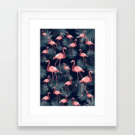 Summer Flamingo Palm Night Vibes #1 #tropical #decor #art #society6 Framed Art Print