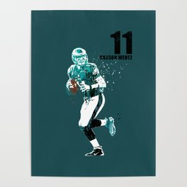 Carson Wentz #American football player on green Poster