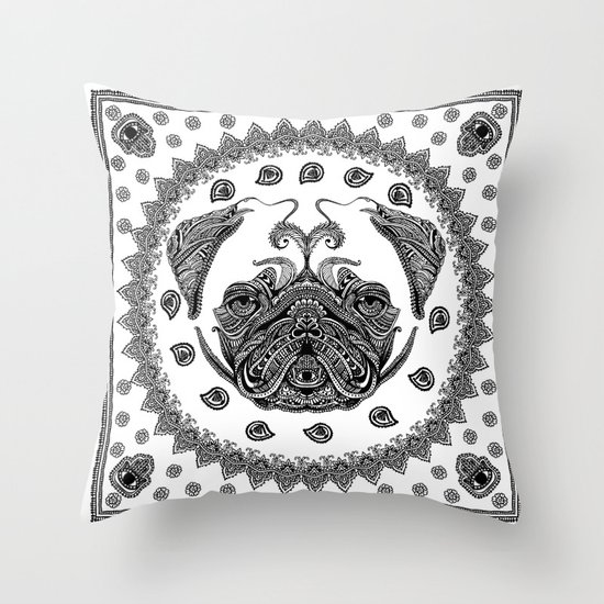 Henna of Pugly Throw Pillow