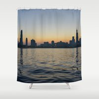 cityscape Shower Curtains featuring Cityscape by ReinventZen