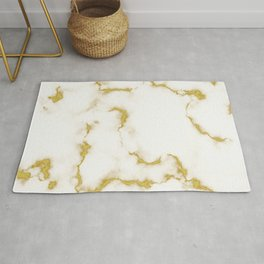Luxury white and gold faux marble Rug