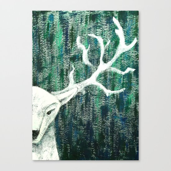 Christmas Stag handpainted Canvas Print